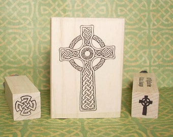 Classic Celtic Cross Rubber Stamp Set of 3 Ancient Ireland Scotland Easter