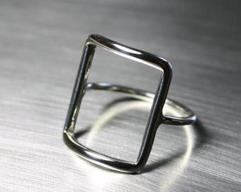 ON SALE TODAY Silver Square Ring, Rectangle Ring, Geometric Ring