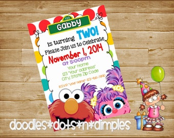 Personalized  Digital  Abby Cadabby and Elmo Birthday Invitation