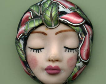 Polymer Clay One of a Kind   Smaller  Detailed  Art Doll Face with abstract hat Cab with   ASN 14