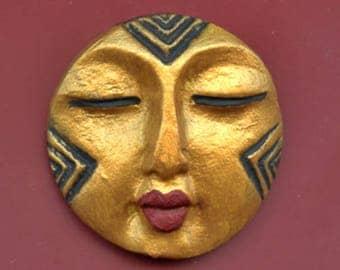 Polymer Clay Golden Textured   Round   Buddha  Face Cab RBGL 1