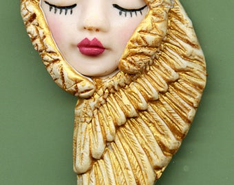 OOAK Polymer Clay Face with Golden Wings  Art Nouveau    AGAN 2