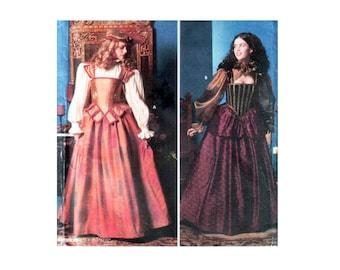 uncut Elizabethan Costume pattern Renaissance Faire Plus Size 14-16-18-20 Revels Costume Corset pattern Simplicity 9256