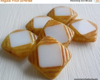 20% Summer SALE 15mm Square Table Cut Opaque White Picasso Beads - 6 Czech Picasso Beads  Czech Glass Beads (G - 402)