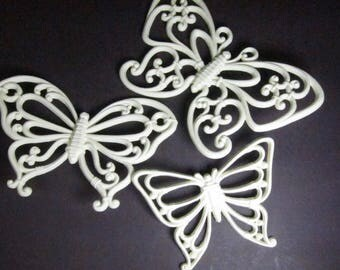 Vintage Syroco Homco Wall Hanging Butterflies Plastic Set of 3 60s 70s Wall Decor
