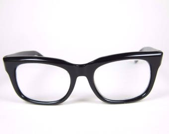 Vintage Horn Rim Eyeglasses 60s 70s Black Plastic Frame Austria Glasses Peerage