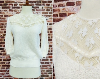 Vintage 80s Lace Sweater Blouse Small Medium Lace Shirt Top Women's Off White Cream Knit Sugar Tops