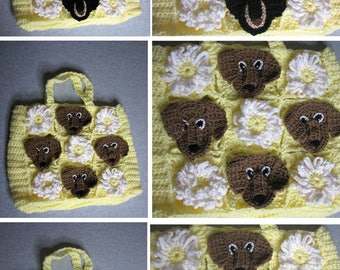 Crochet Pattern - Lace and Flowers Dachshund Tote Pattern - Dog Tote Pattern - Animal Tote Pattern - Dachshund Pattern - Purse Pattern -