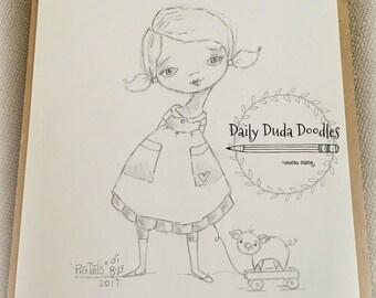 Daily Duda Doodles - #4 Pig Tails - Original Pencil Sketch by Diane Duda
