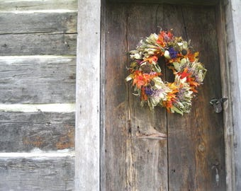 natural CoRN HuSK WReATH DECORATED  with DRIED flowers for wall or door decoration #1