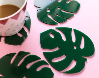 Monstera set of four - Leaf Coasters - Monstera Homeware - Monstera Gift - Cheese Plant Coasters - Plant lady gift - Plant Gift - Leaf Gift