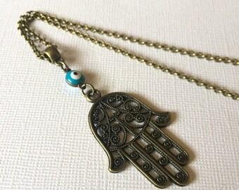 SUMMER SALE Hamsa and Evil Eye Necklace Rolo Chain - Talisman Jewelry