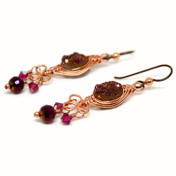 Copper Wire Wrapped Druzy Earrings, Goddess Collection, Deep Magenta, Purple, Vintage, Swarovski, Crystal, Niobium, Glam