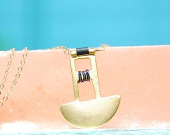ON SALE On Sale MISSING Piece - half Moon necklace sterling silver or 14kt gold vermeil with black glass beads  by Chocolate and Steel