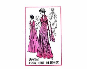 SALE 1970's Orsini High Waist Evening Dress Prominent Designer A584 Mail Order Vintage Sewing Pattern Misses Size 14 Bust 36 Uncut