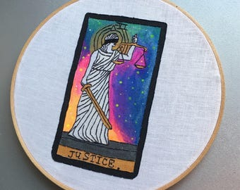 Justice XI - hand embroidered and painted tarot card wall hanging / hoop art