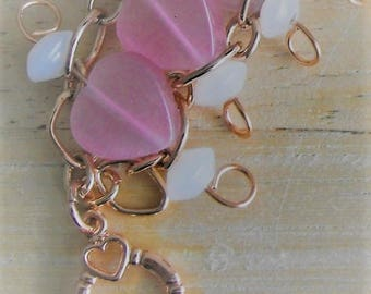Pink Cats Eye Heart Beads, Free DomesticShipping, Copper Wire Wrapped Bracelet, Copper Chain, Toggle Clasp, Medium, Women, Teen, Bridal