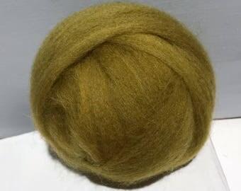 "green gold variegated wool roving ""Ginseng"" hand dyed Felting Spinning Fiber, mustard yellow gold olive green, pea green, yellow green wool"
