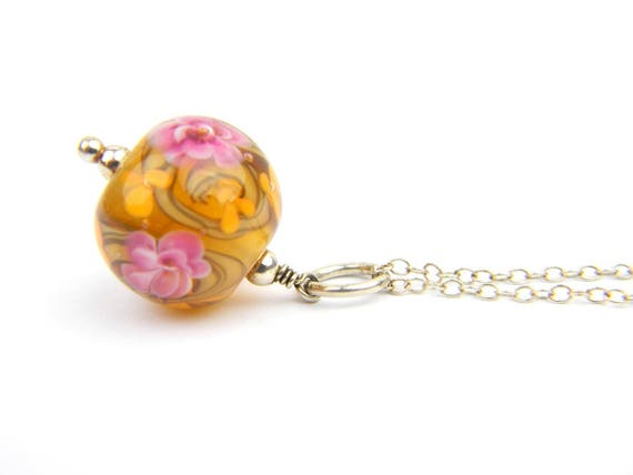 Art Glass Pendant - Medium Amber and Pink Art Glass Bead Sterling Silver Pendant - Classic Collection