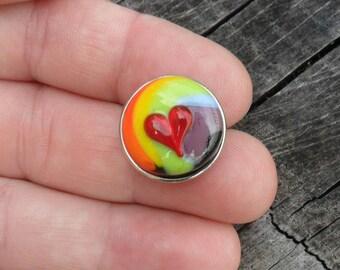 Snap Charm Rainbow Heart on Black, Lampwork Artisan Handmade SRA Glassymom