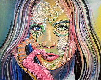 Original Hand painted Abstract Portrait Face Women girls female Painting Modern Art, you can WATCH a video of me painting this