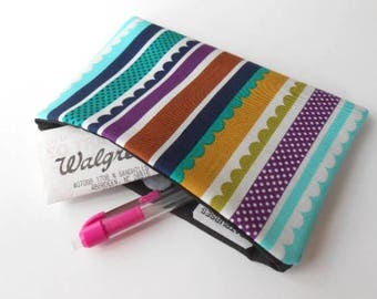 Catch All Clutch ECO Friendly Padded Pouch  NEW Carnival Stripes