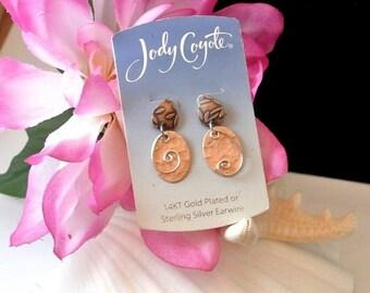 July 4th Sale Jody Coyote Sterling Silver Wire 14 KT Gold Dangle Earrings, Vintage Pierced Earrings