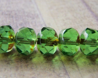 Peridot Green Beads Picasso Finish on the Ends 8x6mm Glass Rondelle 10 Beads