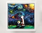 Calvin and Hobbes Art FRAMED CANVAS print van Gogh Had An Imaginary Friend starry night Aja 8x8, 10x10, 12x12, 16x16, 20x20, 24x24, 30x30