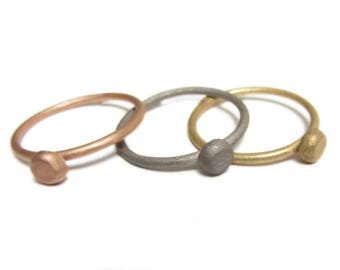 Bulle Ball Ring in solid 18ct rose gold, 18K pink gold stacking ring, pebble ring, gold dot ring