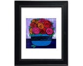 Bowl of Roses Art Print -...
