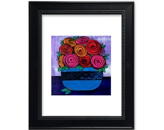 Bowl of Roses Art Print - Abstract Rose Print - Red, Orange and Pink Flowers in Vase - Floral Wall Art - Colorful Modern Botanical Print