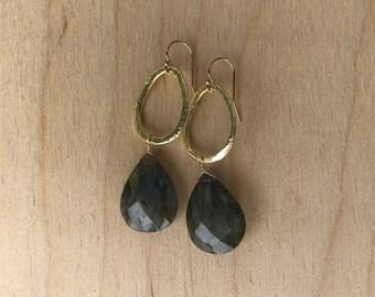 Labrodorite & Gold Hoop Earrings