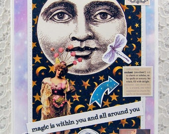 "Magic Greeting Card comes w 1"" Pin Back Button-Full Moon Card-Fairy Card-Mystical Card-Look for the Signs-Magical-Moon Magic-Crystal Ball"