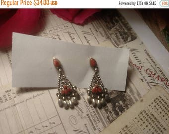 Flash Sale Boho Fringe Sterling Silver Estate Pierced Post Spiny Oyster Stone Earrings 1 and 1/4 inches Long Dangles