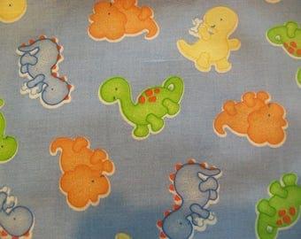 "Blue Baby Dinosuar Fabric - Remnant 33"" x 15"" with bonus strip"