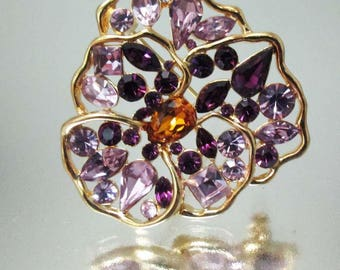 Nolan Miller Pansy Rhinestone Purple Brooch Pin