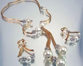 Vintage  Faux Pearl and Rhinestone Necklace and Earrings Unused Bridal Wedding