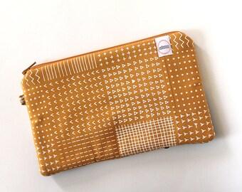 zipper pouch, cash envelope, Eyeglass case, Pen pencil, cash wallet, Cosmetic makeup case, Mustard yellow, bag, sunglasses case