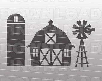 Barn SVG File,Farming SVG File,Farm SVG File,Vector Cutting Template for Commercial & Personal Use-Cricut,Cameo,Explore,Silhouette,Vinyl