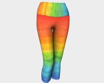 Rainbow Yoga Capris - Size 0/2