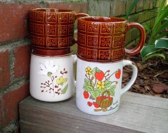 Vintage Stoneware Wild Strawberry & Brown Flower Square Retro Floral Pattern Coffee Mugs / Cups - Made in Japan + Korea Ceramic Mug Cup Gift