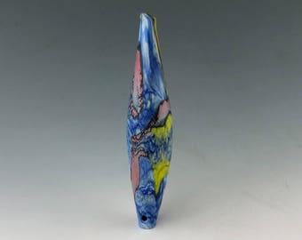 Blue crackle blown glass hollow sra Aja Vaz handmade etched