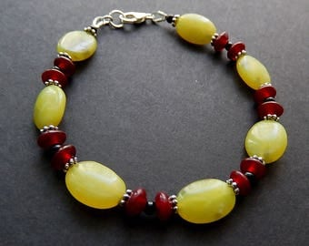 Lemon Jade Bracelet, Serpentine Black Onyx Jewelry, Yellow Green Jewelry