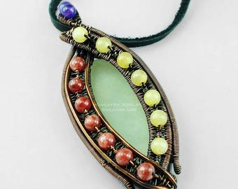 SALE - New Jade, Yellow Quartz, Pink Calcite, Amethyst and Copper Necklace