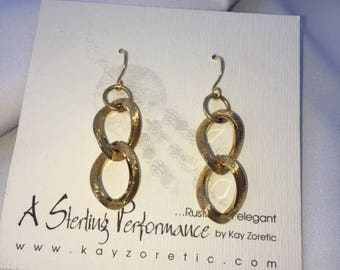 Double Link Gold Plated Earrings