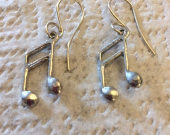 Silvertoned Music Notes Earrings, Note able Jewelry