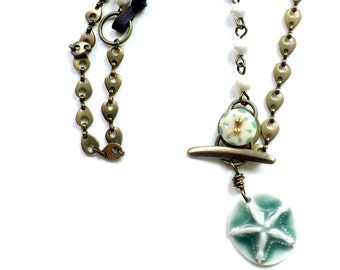 Star Fish Necklace with Chain and Pearls