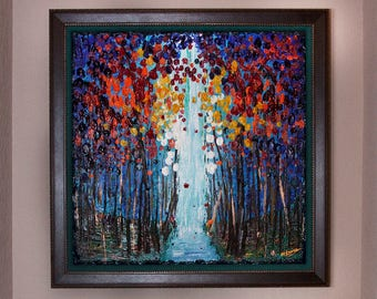 GALLERY ORIGINAL Custom Framed Landscape Painting Abstract Modern Art Heavily Textured Flowers Nature Trees Zen Home Decor By Heather Lange