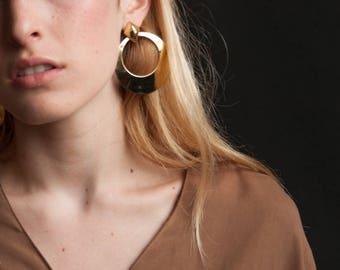 large gold hoop earrings / oversized doorknocker earrings / unique statement earrings / 1348a